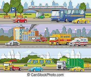 stedelijke , horizontaal, moderne, verkeer, banieren