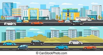 stedelijke , horizontaal, verkeer, banieren