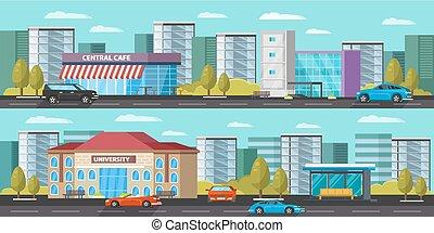 stedelijke , horizontale banners, landscape