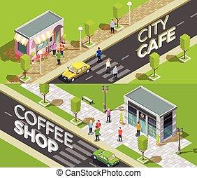 stedelijke , isometric, koffiehuis, banieren