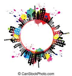 stedelijke , kunst, gespetter, ontwerp, inkt, spandoek