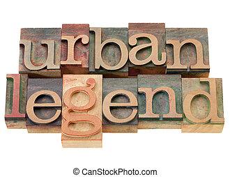 stedelijke , legende, in, hout, letterpress, type