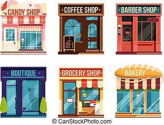 stedelijke , set, opslag, zakelijk, isoleren, illustratie, achtergrond., vector, witte , retail.