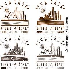 stedelijke , set, ouderwetse , etiketten, whisky, vector
