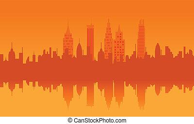 stedelijke skyline, ondergaande zon