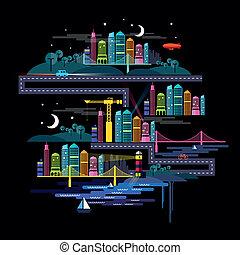 stedelijke , stad, nacht