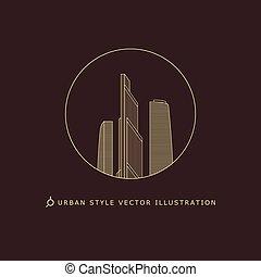 stedelijke , stijl, logo