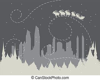 stedelijke , vakantie, achtergrond, kerstman