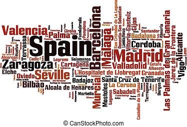 steden, woord, spanje, wolk