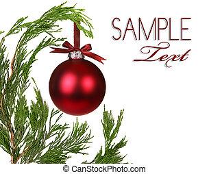 stedsegrøn, branches, træ, ornamentere, æn, jul