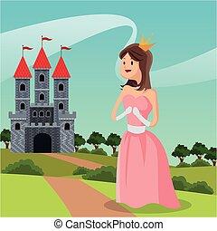 steegjes, kasteel, prinsesje, landscape