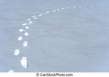 steegjes, voetafdrukken, sneeuw