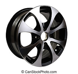 car rim  - steel alloy car rim on a white background