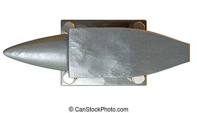 Steel Anvil Top - A top view of a heavy steel black anvil...