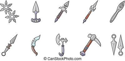 Steel arms icon set, cartoon style