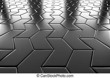 Steel arrow blocks flooring perspective view shiny abstract...