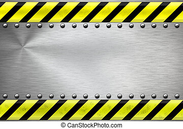 Steel background - Construction borders and rivets on...