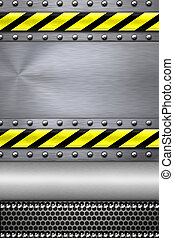 Steel background - Rivets in textured steel background