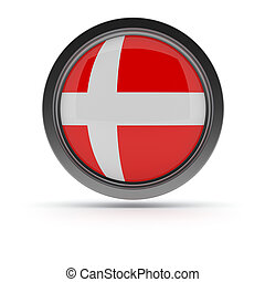 Steel badge with Danish flag