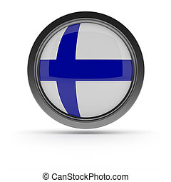 Steel badge with Flag of Finland