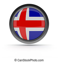 Steel badge with flag of Iceland
