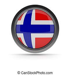 Steel badge with Norwegian flag