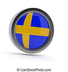 Steel badge with Swedish flag