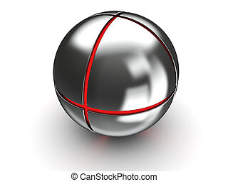 steel ball with red core - abstract 3d illustration of steel...