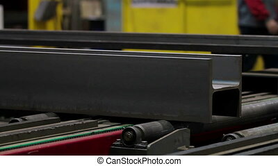 Steel bar on Production line in Industrial factory -...