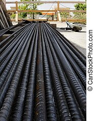 steel bar reinforcement at a construction site