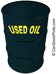 Used oil - Steel barrel oil. Used oil. Vector illustration.