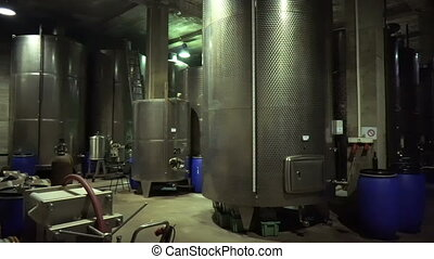 Steel barrels for fermentation of wine in winemaker factory