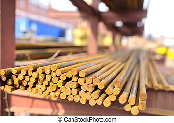 steel bars in a pile