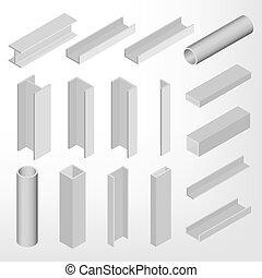 Steel beam isometric vector illustration.