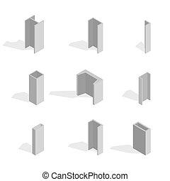Steel beam isometric, vector illustration.