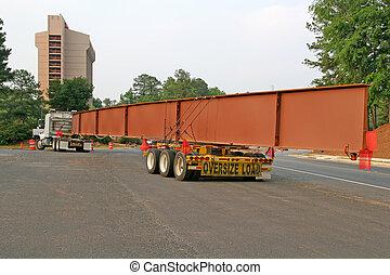 Steel Beam - A huge steel beam for bridge construction on a...