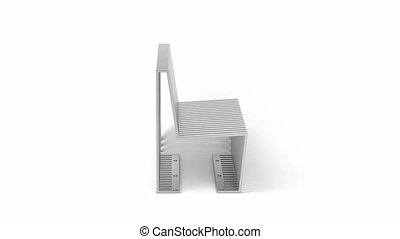 Steel bench with modern design on white background