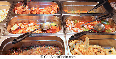 steel bins in the restaurant with very tasty Oriental foods