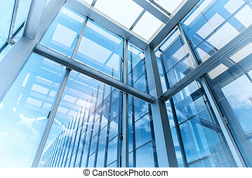 steel blue glass high rise building skyscrapers, business concept of successful industrial architecture