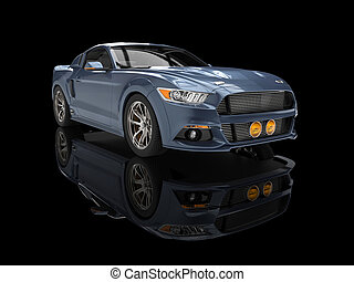 Steel blue urban muscle car on black reflective background