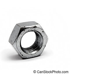 Steel bolt nut closeup