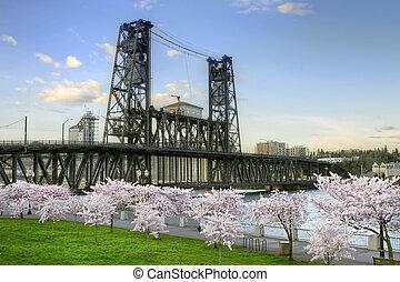 Steel Bridge and Cherry Blossom Trees in Portland Oregon