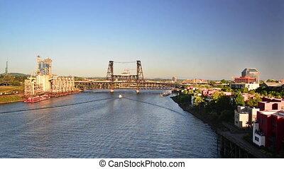 View of the Steel Bridge over the Willamette River in Portland, Oregon