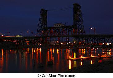 Steel bridge at night.