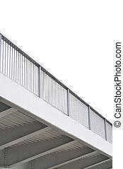 Steel bridge girder span, blue grey metal pillar rails, modern contemporary industrial flyover overpass, large detailed vertical isolated closeup, copy space