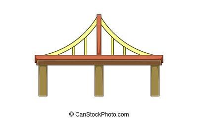 Steel bridge icon animation cartoon best object isolated on white background