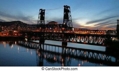 Steel Bridge in Portland OR Traffic