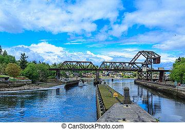 Steel Bridge Over Ballard Locks