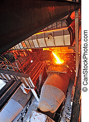 steel buckets to transport the molten
