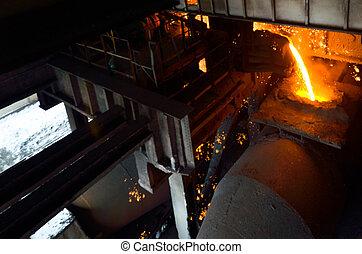 steel buckets to transport the molten metal
